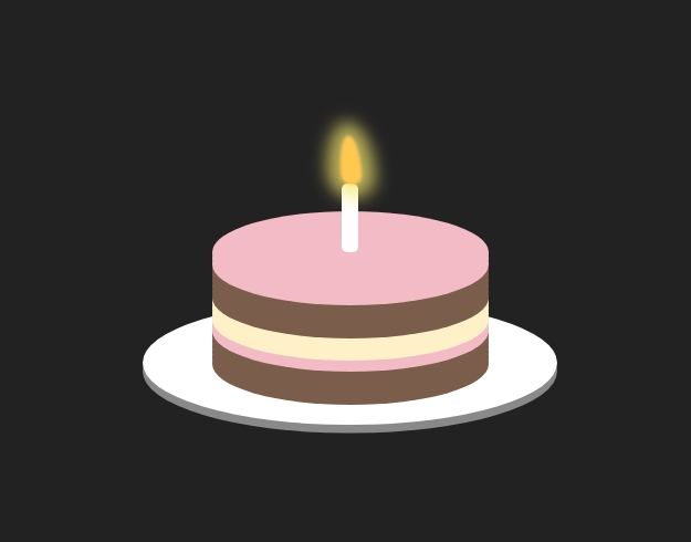 html5css3生日蜡烛火焰颤动图形样式代码