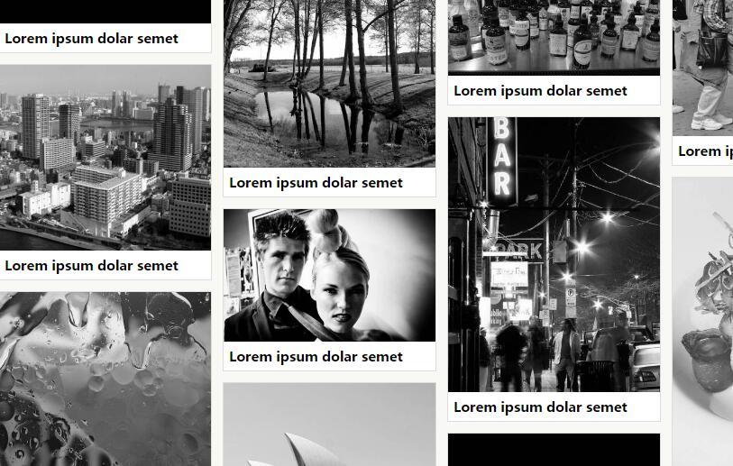 网页图片相册高度自适应瀑布流插件排版特效代码