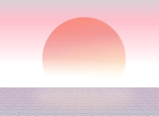 divcss radial-gradient属性样式代码制作海上日出景色特效