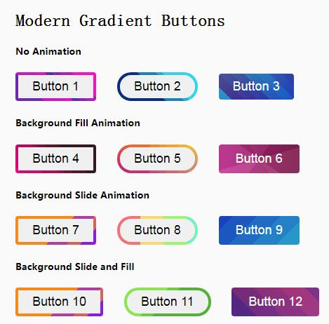 网页button按钮圆角样式边框背景动画特效css3代码