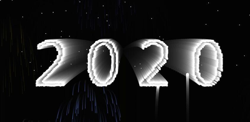 html5源码canvas画布图层烟花绽放迎喜2020新年特效
