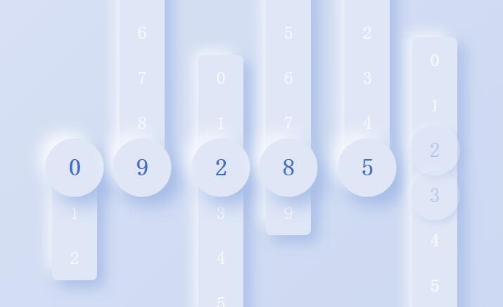 js垂直条形阴影滑动数字切换时间秒表特效代码