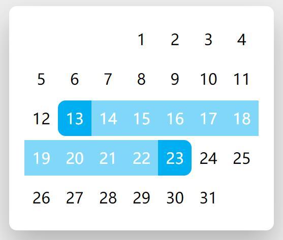 一款点击拖动选择时间范围的日期选择器控件