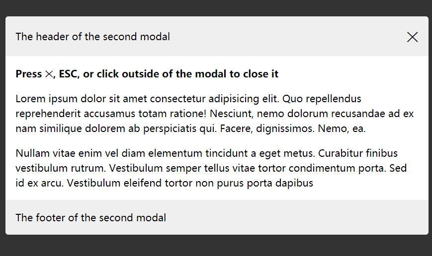 侧面滑动弹出模态框html模板代码