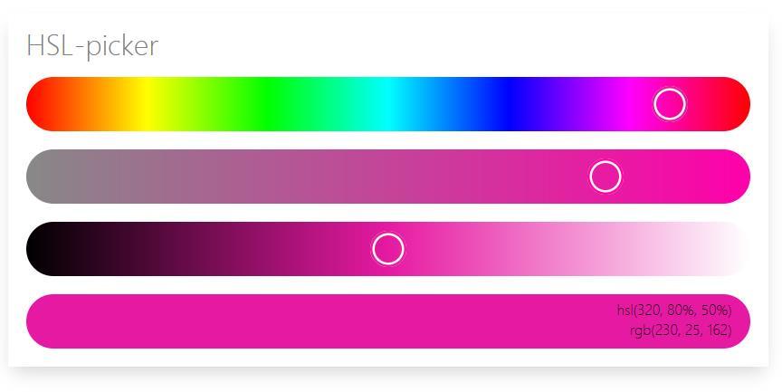 html网页模板hsl取色选择器插件代码